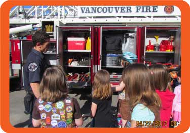 Vancouver Fire Department doing a presentation to children